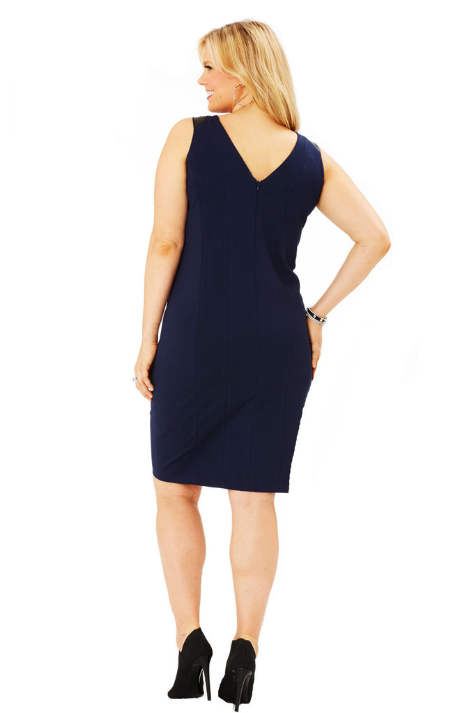 PLUS SIZE SLEEVELESS NAVY FAUX LEATHER DRESS