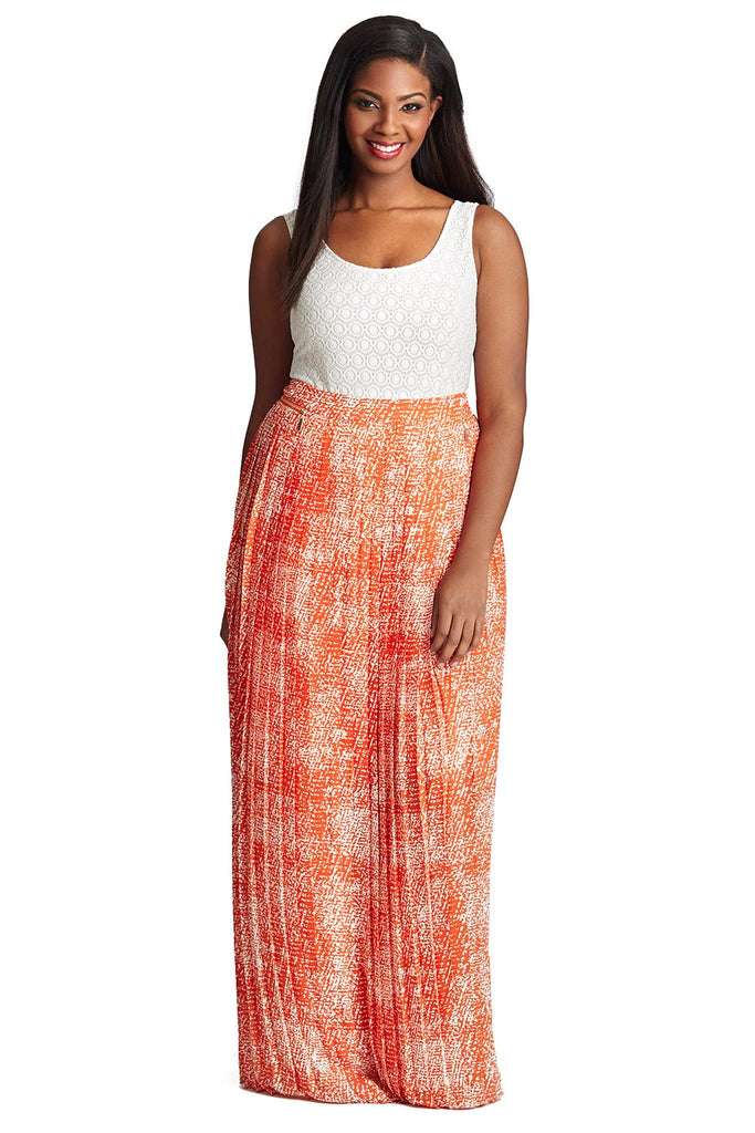 PLUS SIZE ORANGE PRINT PLEATED MAXI SKIRT