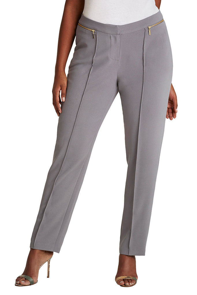 PLUS SIZE FRONT PLEAT TROUSER IN GRAY