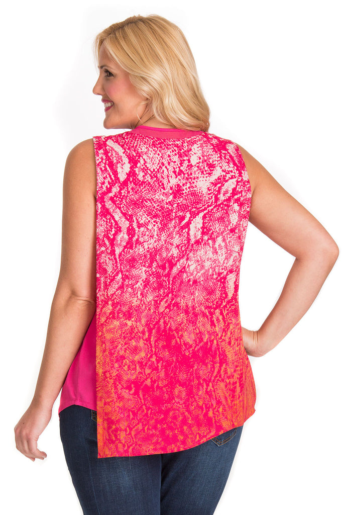 PLUS SIZE PINK SNAKE OVERLAY TOP