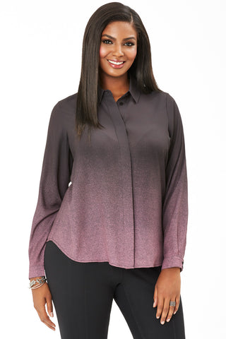 PLUS SIZE OMBRE BUTTON UP IN ROSE