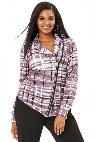 PLUS SIZE MOTO BLOUSE IN GRAPE PLAID