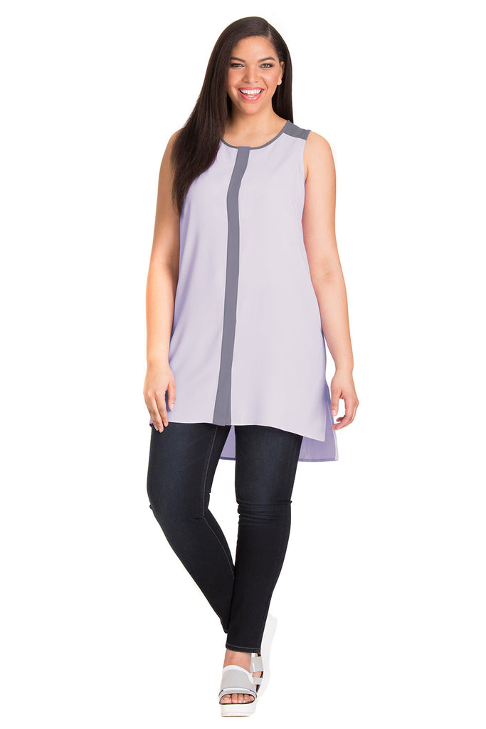 PLUS SIZE PURPLE COLORBLOCK TUNIC