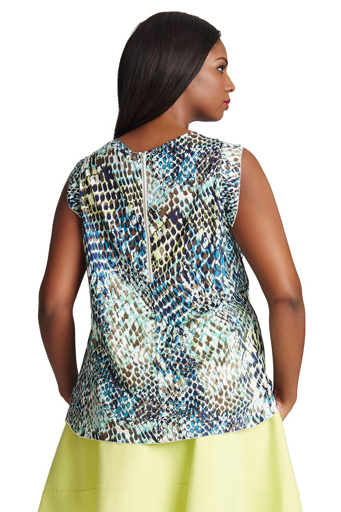 PLUS SIZE GREEN PYTHON PRINT BLOUSE