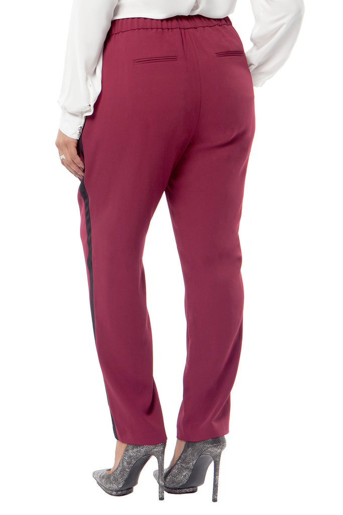 PLUS SIZE PEG TUXEDO PANT IN RASPBERRY