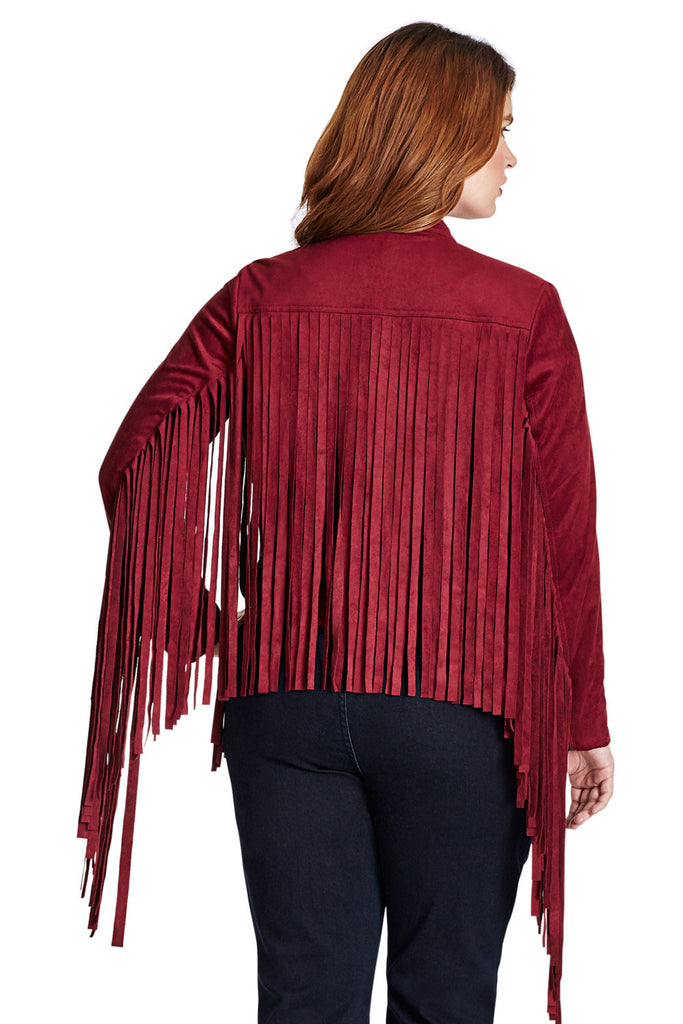 PLUS SIZE FRINGE JACKET IN RED