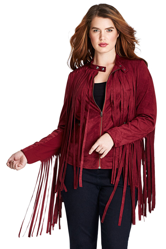 bf7f895516e Plus Size Suede Fringe Moto Jacket in Red – MYNT 1792