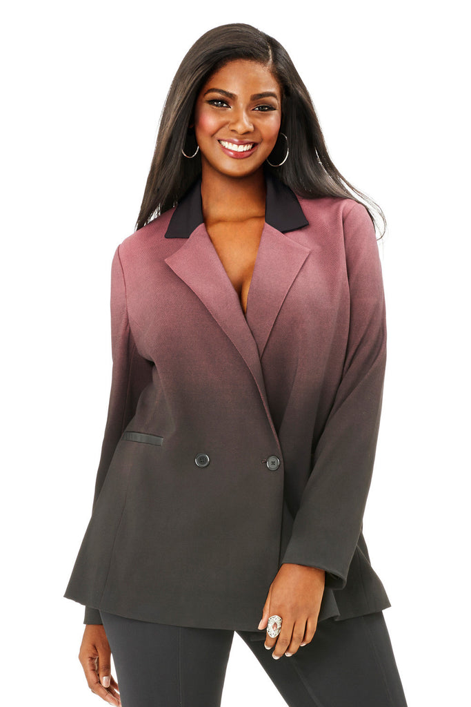 PLUS SIZE OMBRE STIPPLE PRINT BLAZER IN ROSE