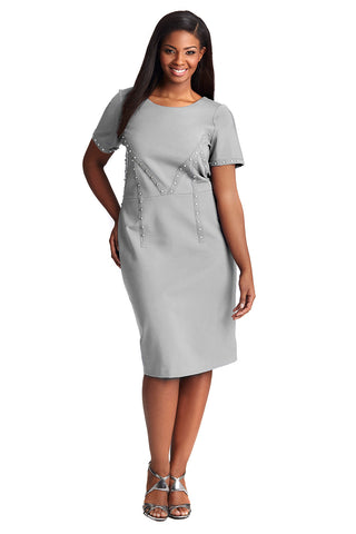 CURVE HUGGING PONTE DRESS IN SILVER