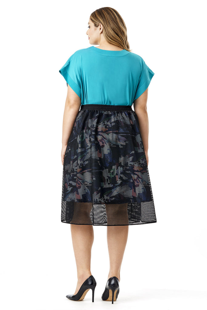 MYNT 1792 FLORAL LINED MESH OVERLAY KNEE LENGTH SKIRT