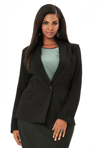 PLUS SIZE BLACK STANDING COLLAR BLAZER