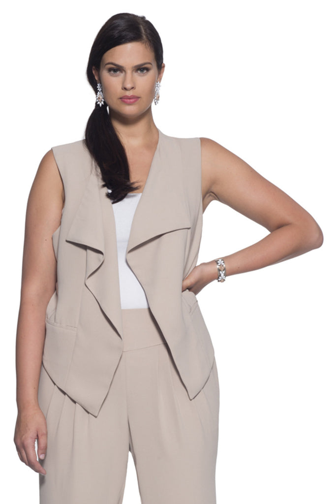 PLUS SIZE CASCADE VEST IN TAN