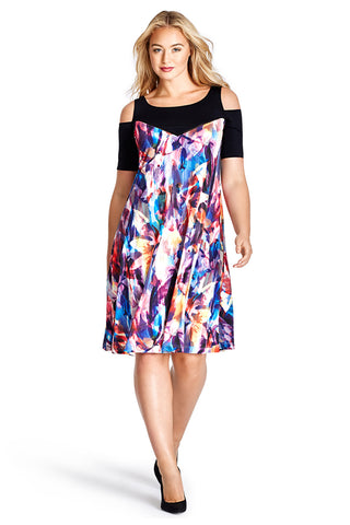 MYNT 1792 WATERCOLOR PRINT MESH COMBO COLD SHOULDER DRESS