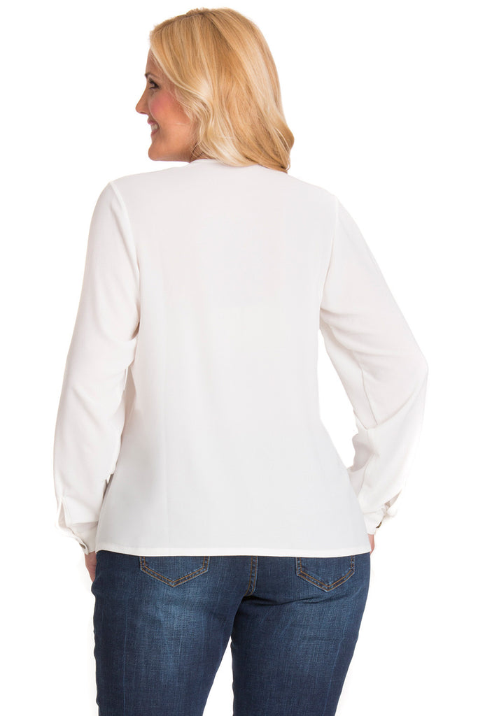 Plus Size Colorblock Button-up Blouse