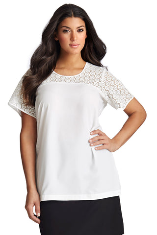 PLUS SIZE WHITE LACE BLOCK BLOUSE