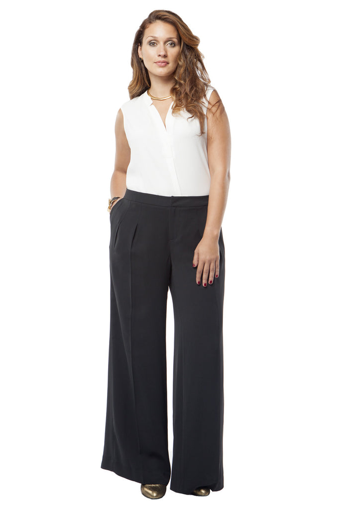PLUS SIZE SLIMMING WIDE LEG TROUSER