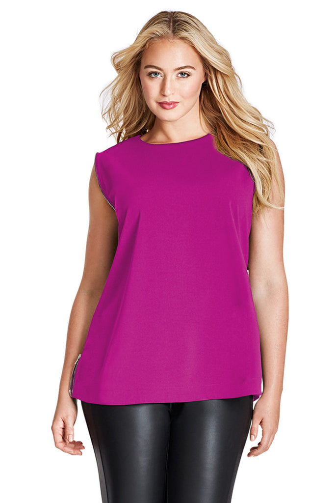 MYNT 1792 WILD ASTER ZIPPER SIDE SEAM TOP