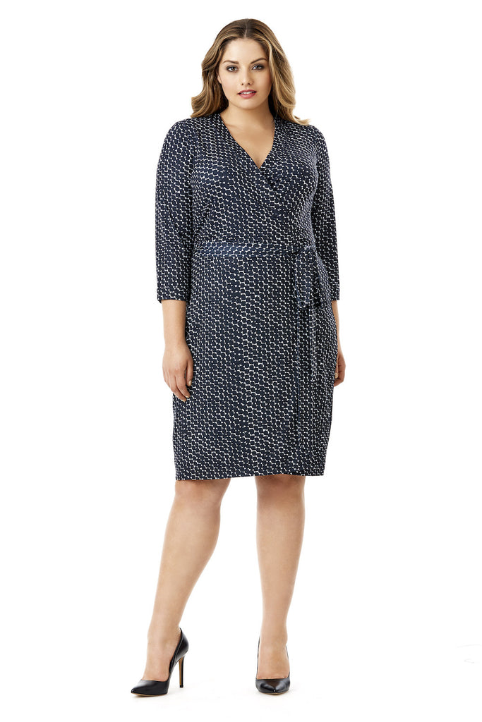 MYNT 1792 INK DOT NAVY WRAP DRESS