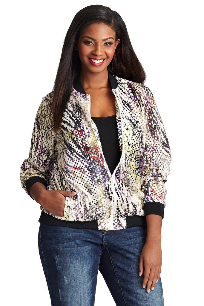 PLUS SIZE SCUBA BOMBER JACKET