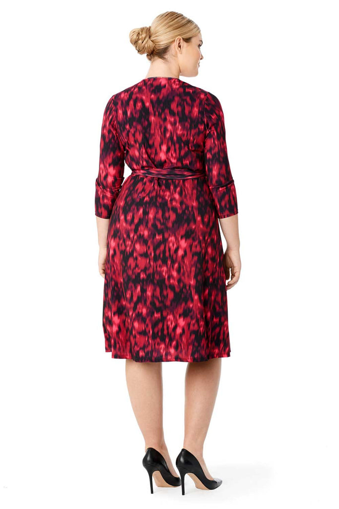 MYNT 1792 CRIMSON PRINT MIDI WRAP DRESS