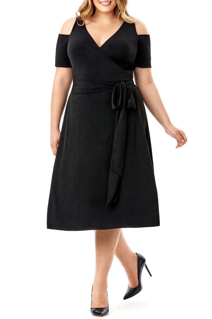 MYNT 1792 - COLD SHOULDER BLACK WRAP DRESS