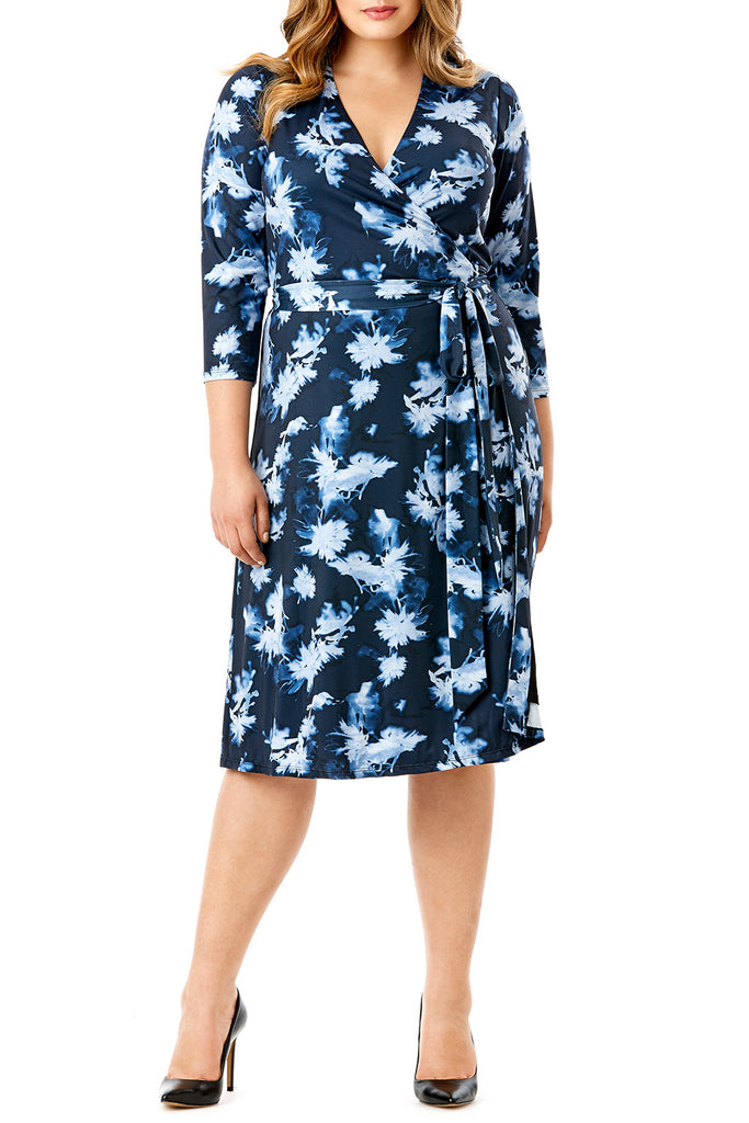 MYNT 1792 - EXOTIC FLORAL BLUE WRAP DRESS