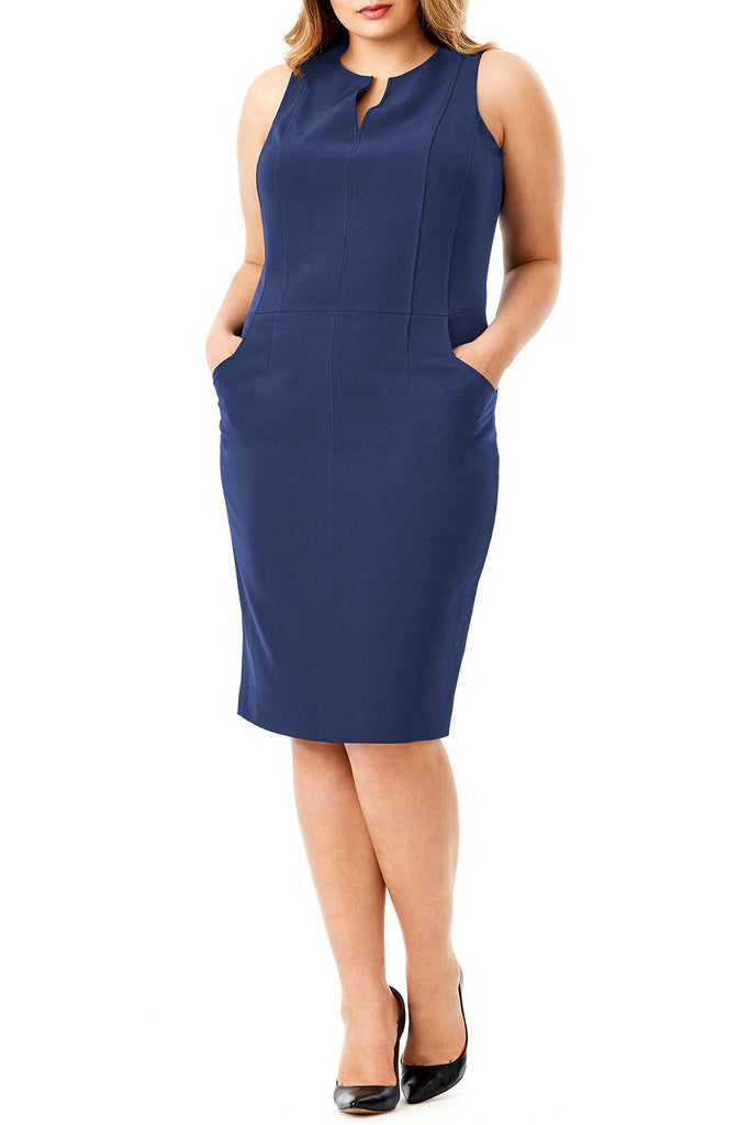 MYNT 1792 - SEAMED STRETCH CREPE SHEATH DRESS
