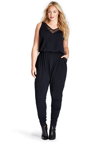 PLUS SIZE NAVY JERSEY JUMPSUIT
