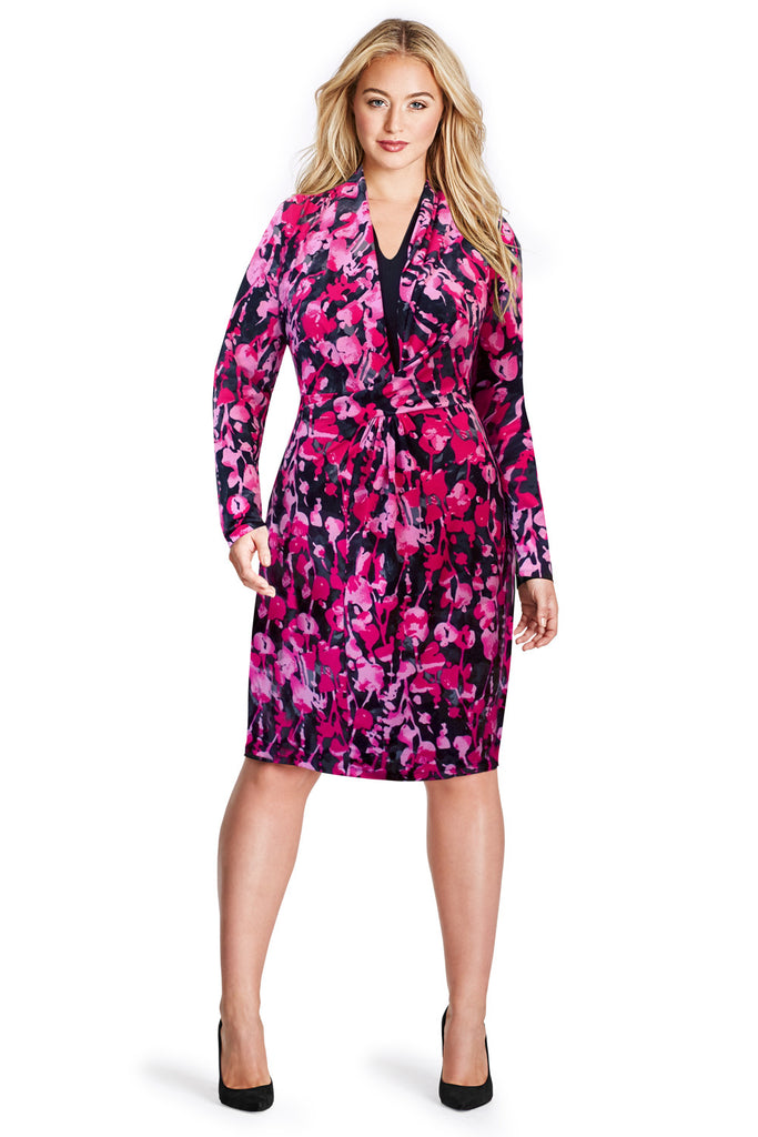 PLUS SIZE FLORAL PRINT WRAP DRESS