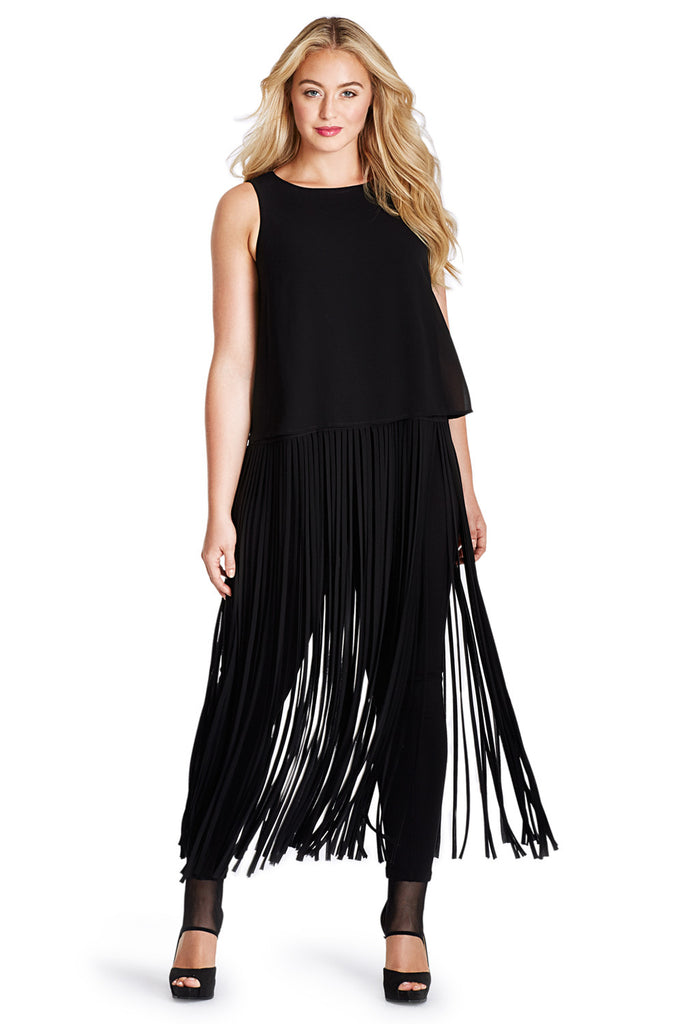 PLUS SIZE FRINGE TUNIC
