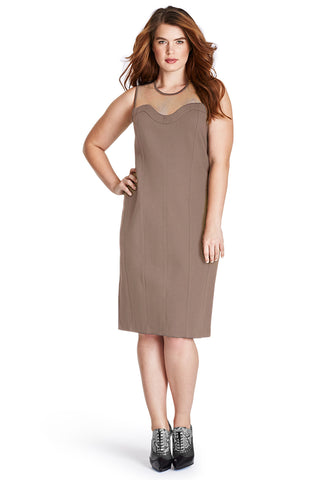PLUS SIZE TAUPE BODYCON DRESS