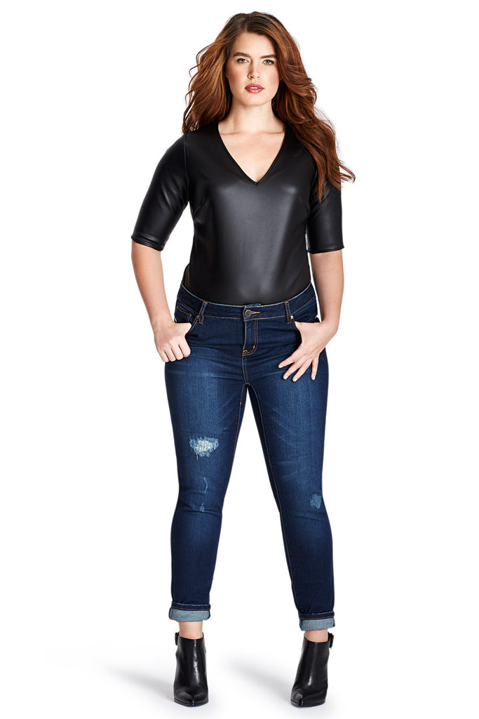PLUS SIZE FAUX LEATHER BODYSUIT