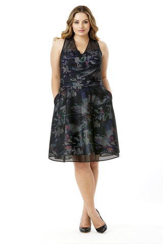 MYNT 1792 CAGED FLORAL FIT AND FLARE DRESS
