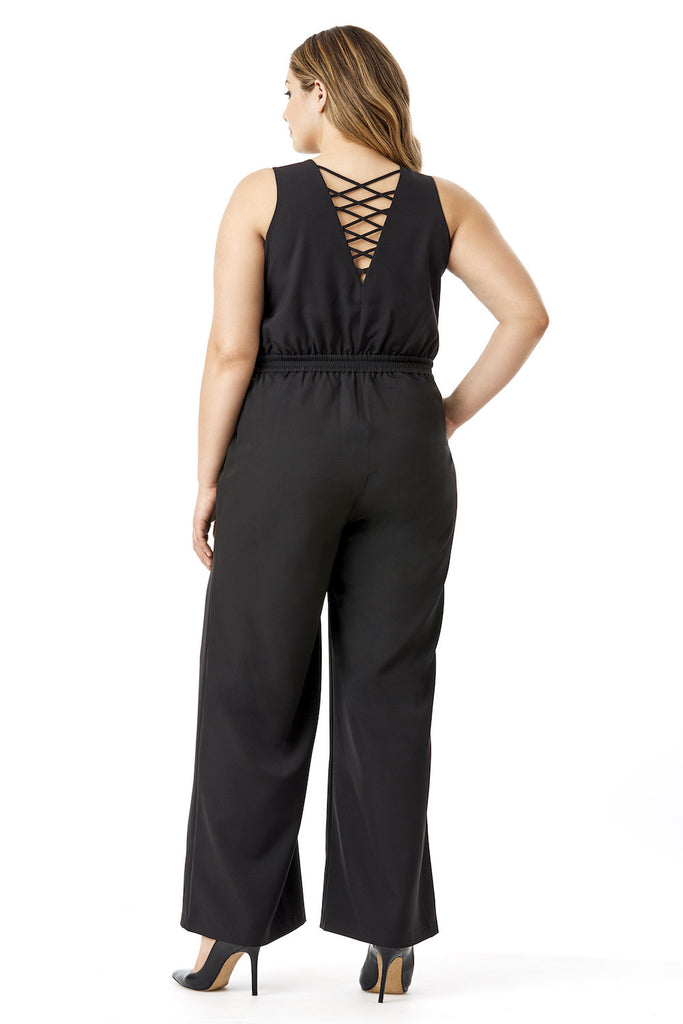 MYNT 1792 BLACK LACE UP JUMPSUIT