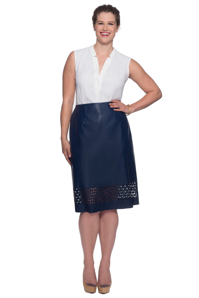 PLUS SIZE NAVY LASER CUT SKIRT