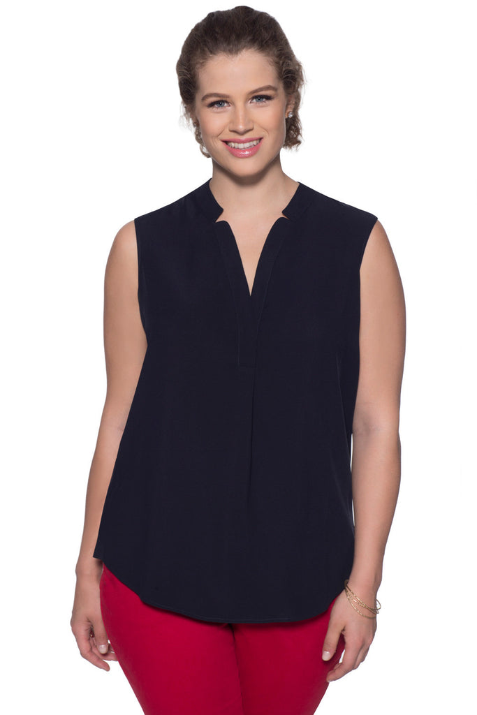 SLIMMING PLUS SIZE SLEEVELESS BLOUSE IN NAVY