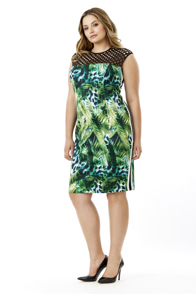 MYNT 1792 SCUBA JUNGLE PRINT BODYCON DRESS