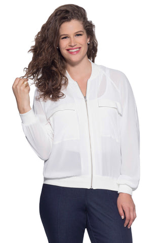 PLUS SIZE WHITE SHEER BOMBER
