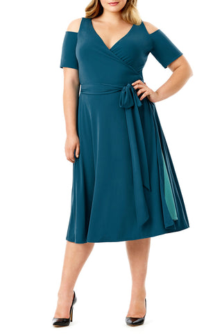 MYNT 1792 - COLD SHOULDER DARK TEAL WRAP DRESS