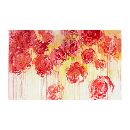 Handpainted - Drips of Rose Wall Panel