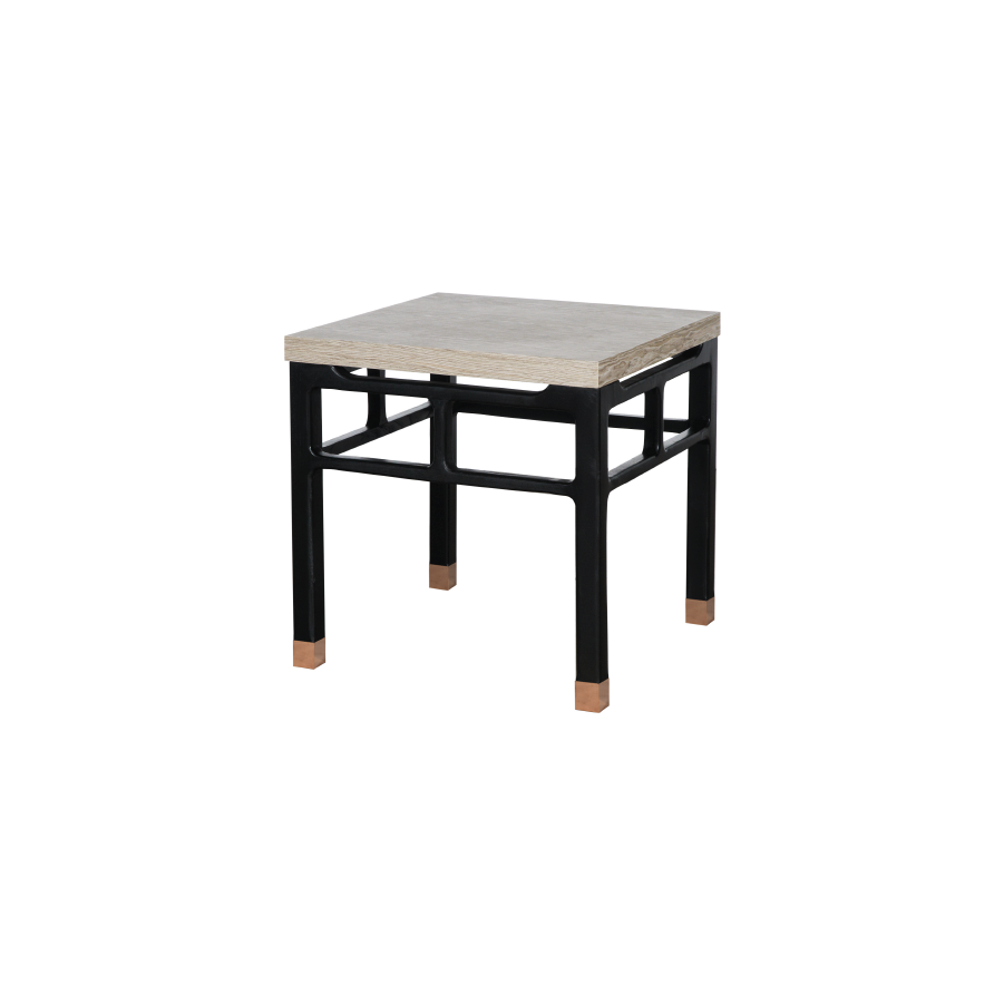 Gray Smoke Copper Feet End Table
