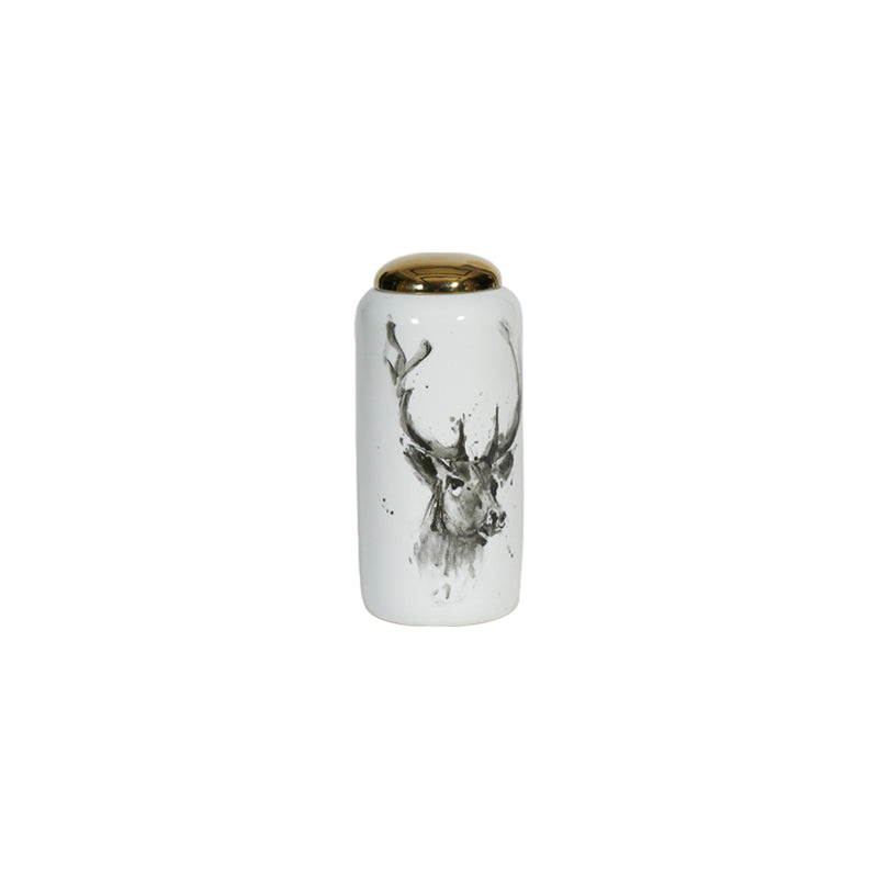 Stag Head Ceramic Vase