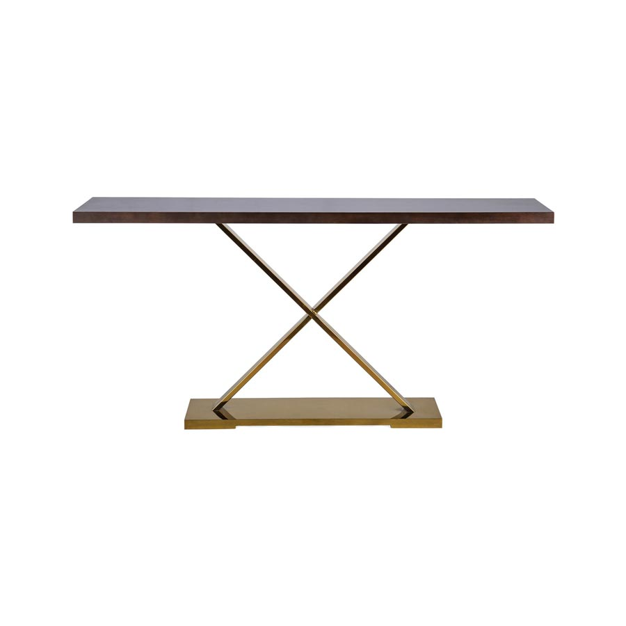 Brown console with brass base