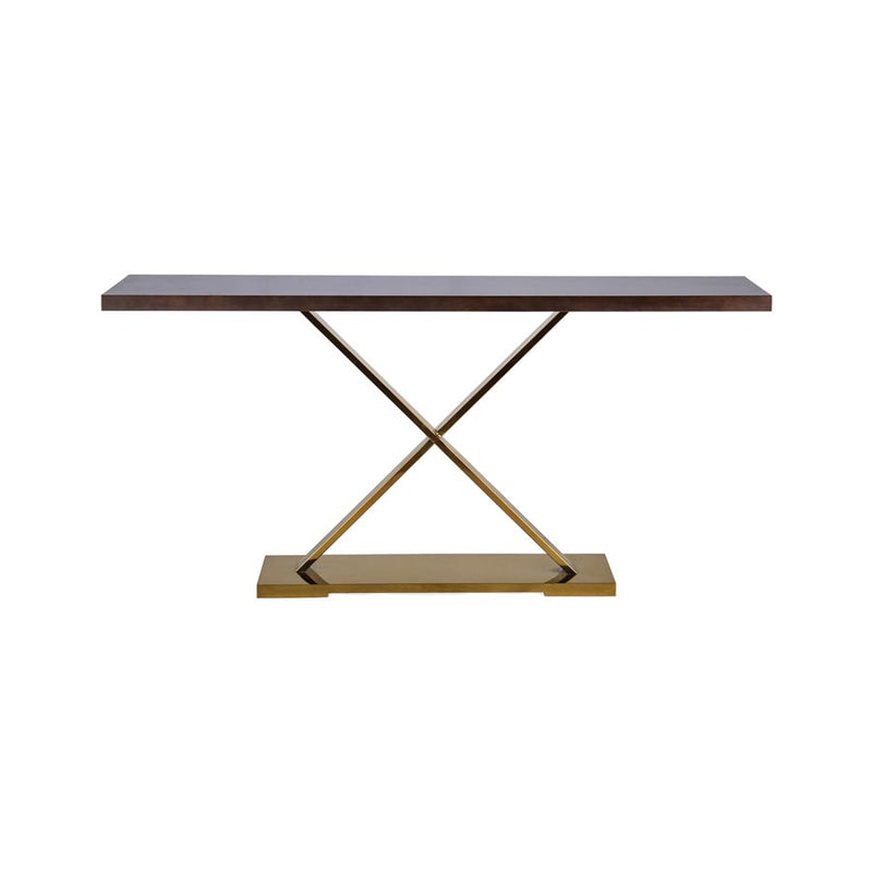 Buy Brown console with brass base Online | Home Furnishing