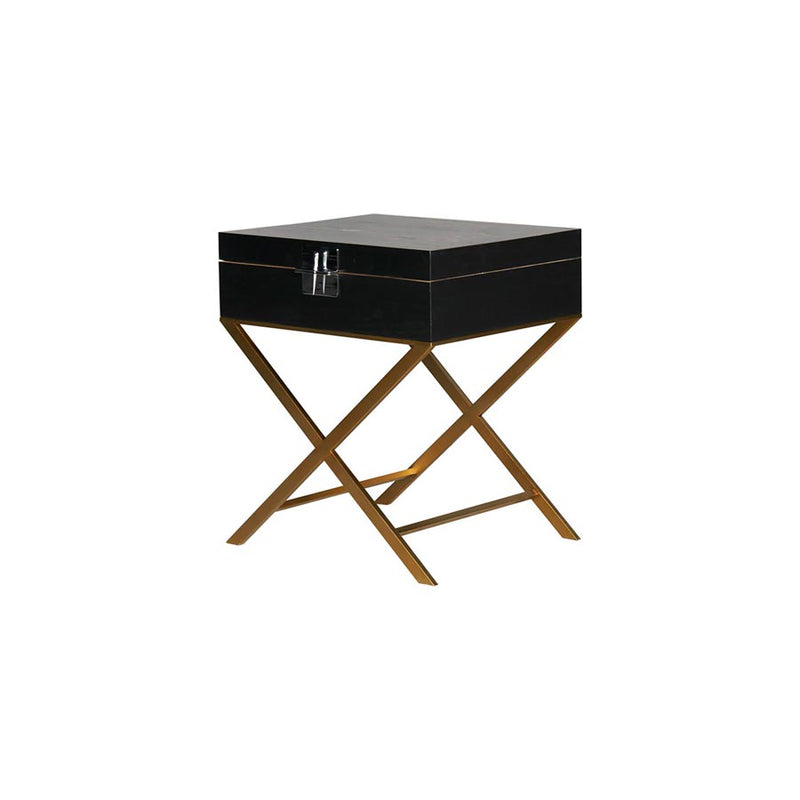 Buy Handpainted black and gold side table | Bedroom Furniture