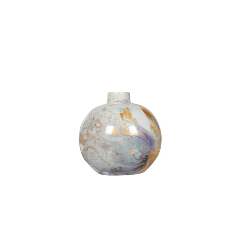 Buy Navy marble porcelain round vase Online | Home Furnishing