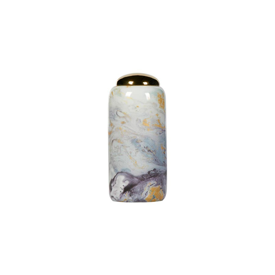 Buy Navy marble porcelain lidded jar Online | Home Furnishing