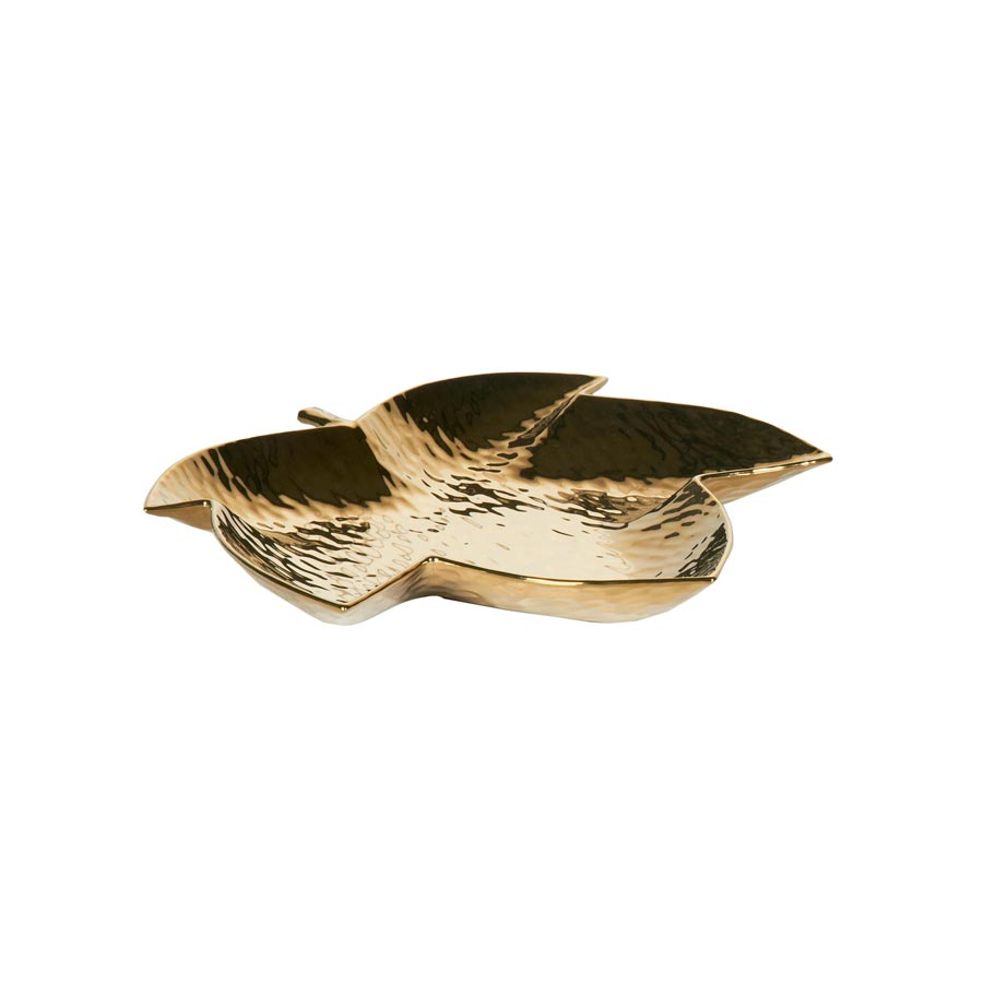 Buy Gold maple leaf ceramic tray Online | Home Furnishing