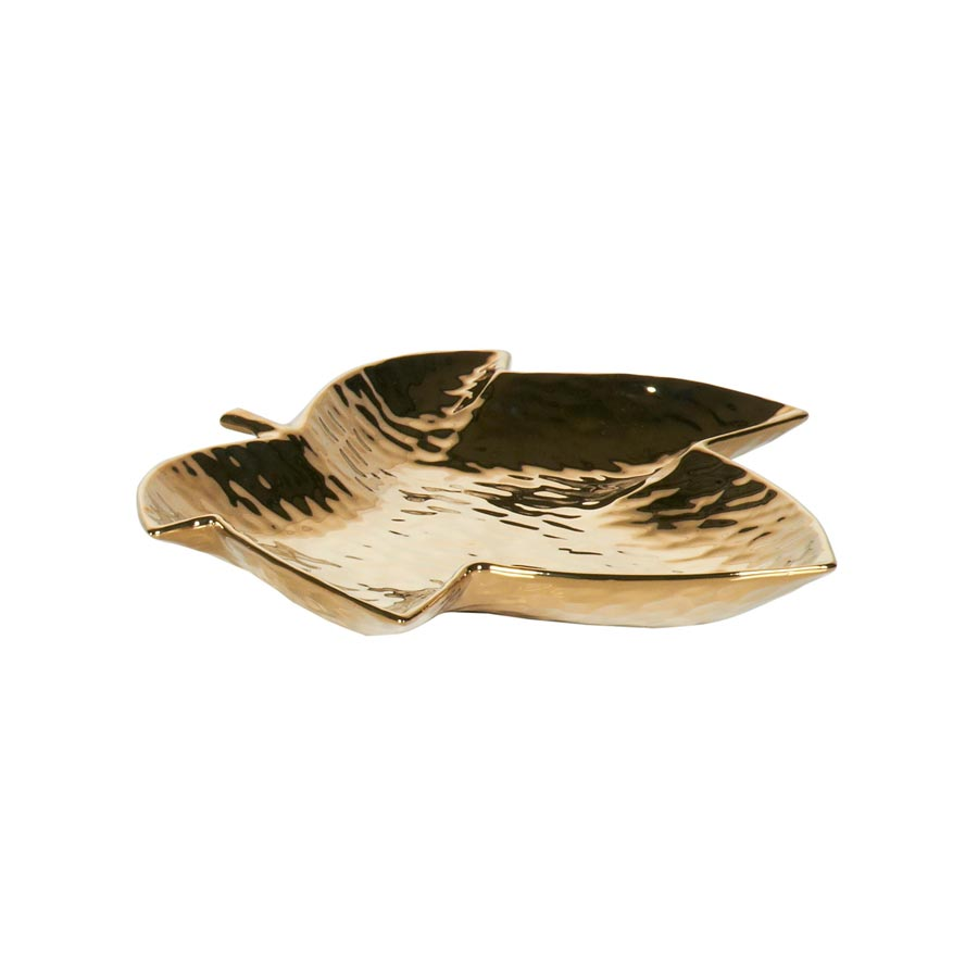 Gold maple leaf ceramic tray