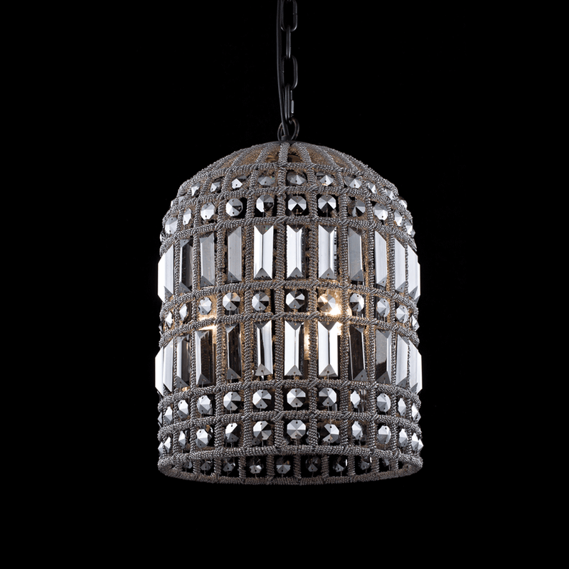Buy Crystal Smoke Cage Chandelier Online | Home Furnishing